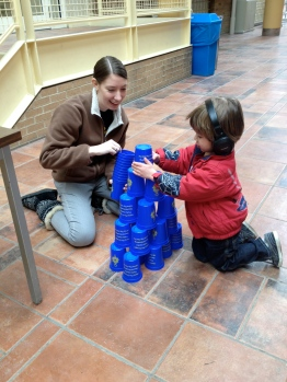 building a tower of cups