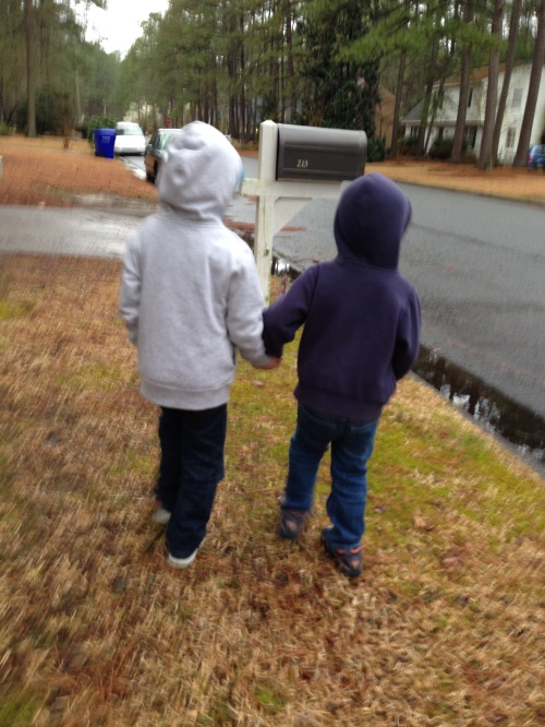 We took walks around the neighborhood.